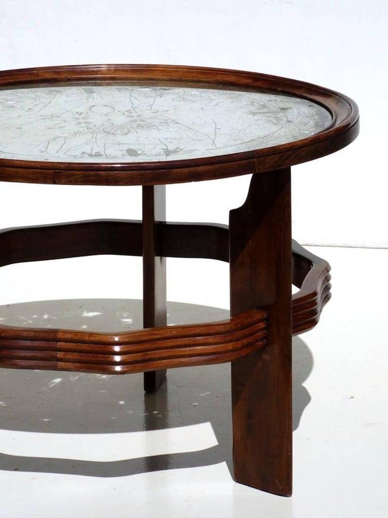 Art Deco coffee table by Vittorio Valabrega, Torino Italy, 1930s  Mahogany and original mirror top Excellent condition.