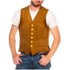 1930S Caramel Brown Suede & Wool Men's Vest