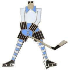 1930s Carl Nagel Art Deco Enamel Silver Ice Hockey Player Brooch Pin