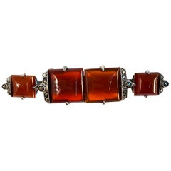 1930s Carnelian Marcasite and Sterling Silver Pin