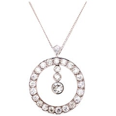 1930s Cartier Paris Old European Cut Diamond Platinum Pendant