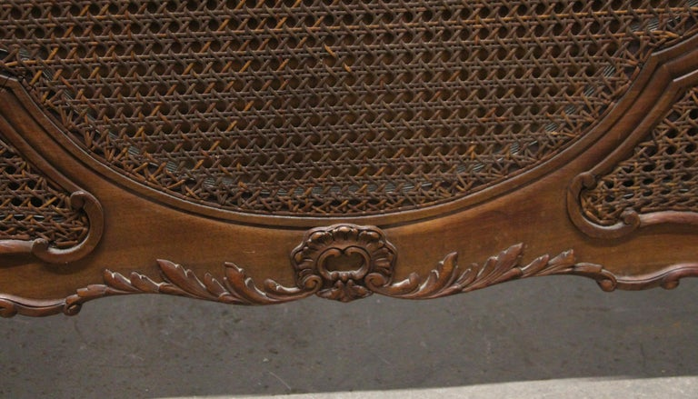 1930s Carved Dark Tone Walnut and Cane Art Deco King Size Bed Wood Frame For Sale 5