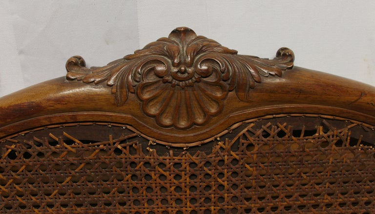 1930s Carved Dark Tone Walnut and Cane Art Deco King Size Bed Wood Frame In Good Condition For Sale In New York, NY