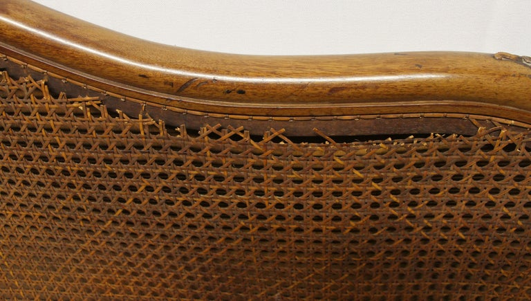 Mid-20th Century 1930s Carved Dark Tone Walnut and Cane Art Deco King Size Bed Wood Frame For Sale