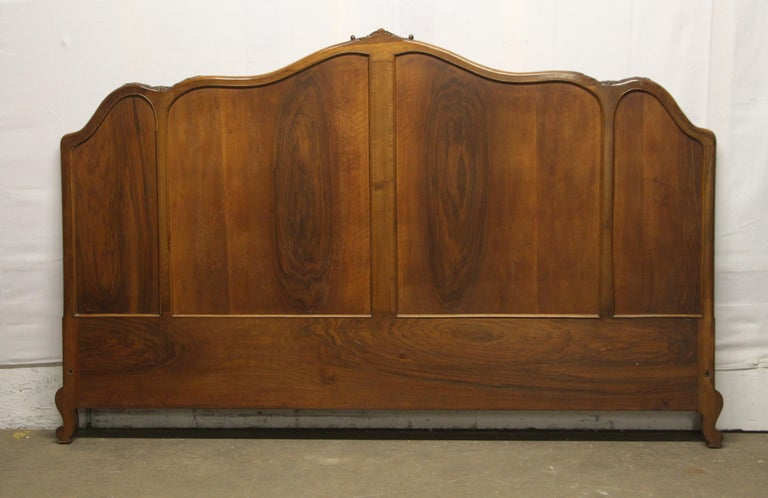 1930s Carved Dark Tone Walnut and Cane Art Deco King Size Bed Wood Frame For Sale 2