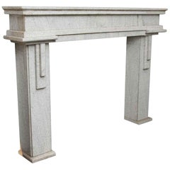 1930s Carved Granite Mantel with Art Deco or Geometric Design