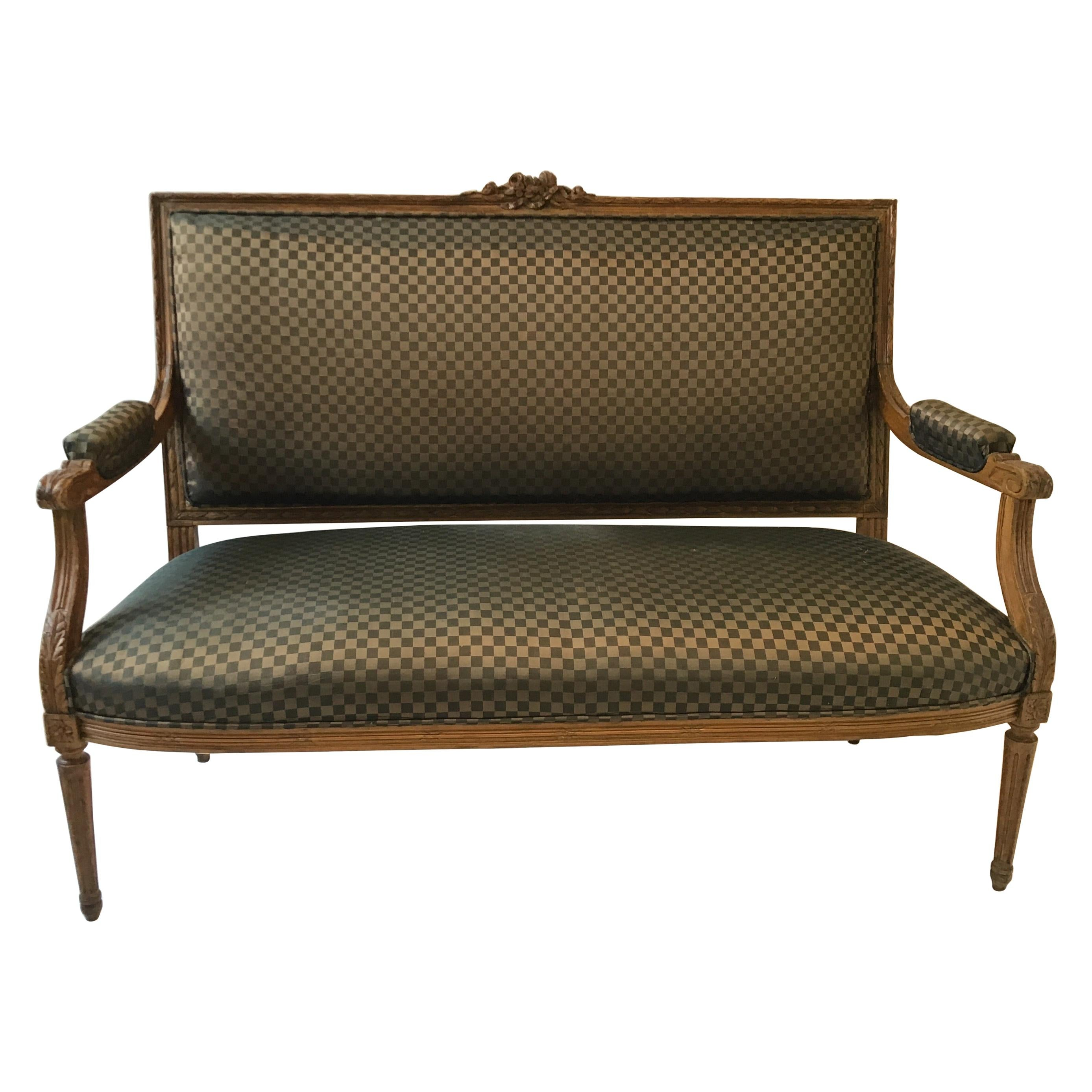1930s Carved Wood Louis XVI French Settee