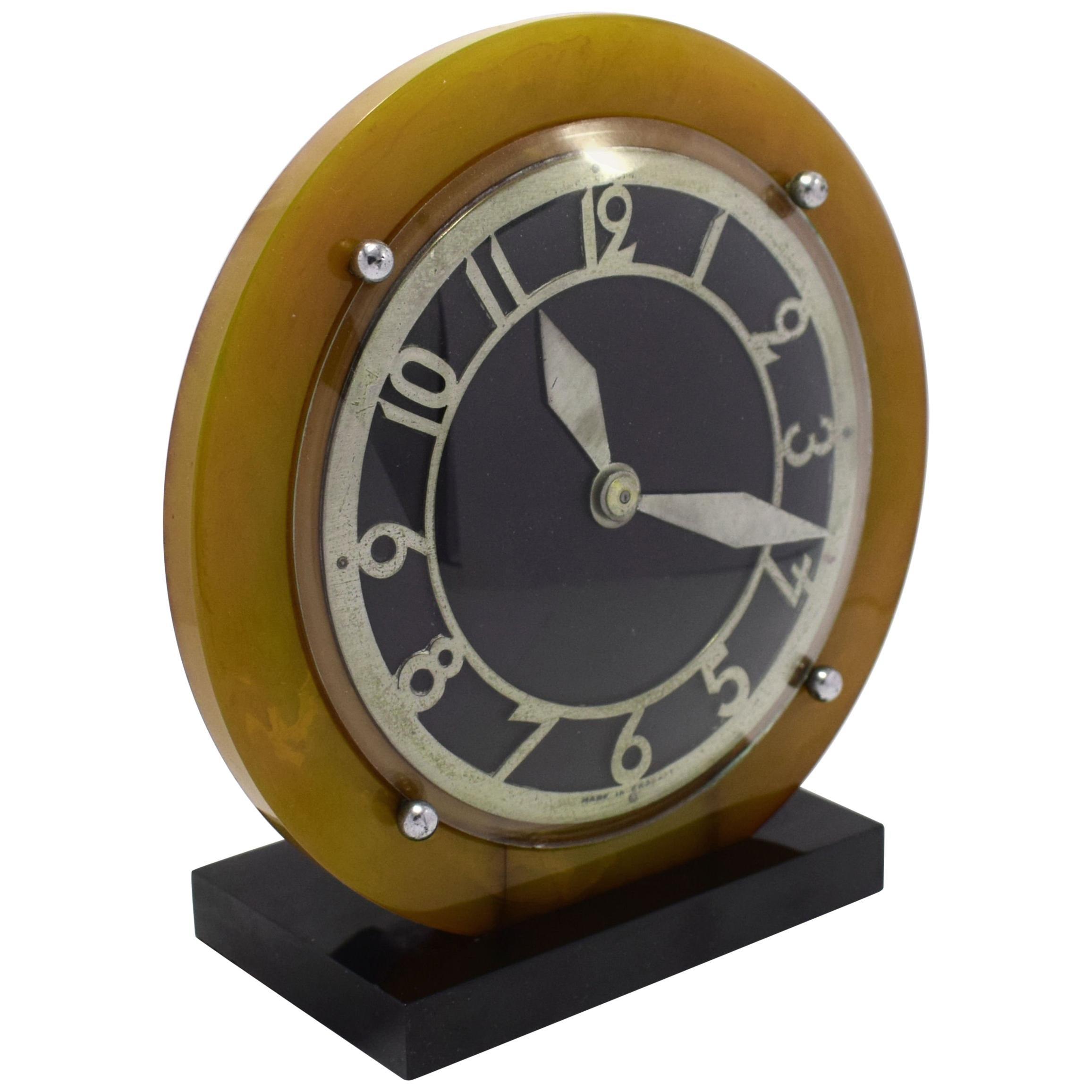 1930s Catalin Bakelite Art Deco English Electric Clock