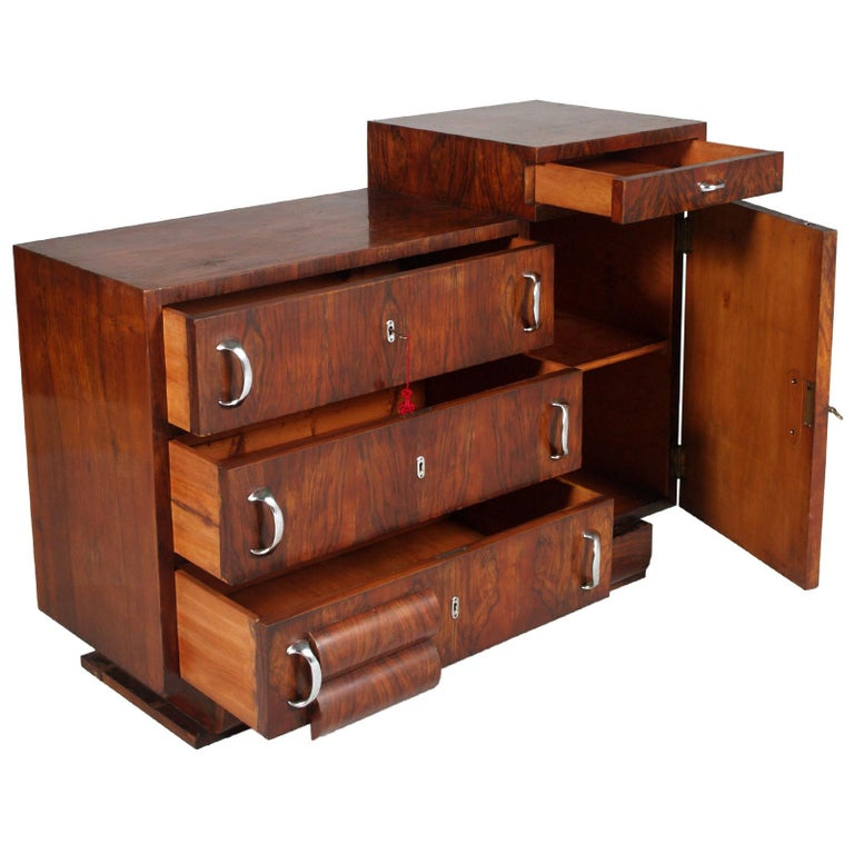 1930s Chest of Drawers, Commode, Credenza Art Deco by Guglielmo Urlich for Ar.Ca In Good Condition For Sale In Vigonza, Padua