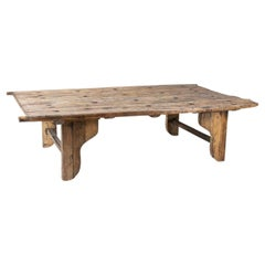 1930s Chinese Washed Wooden Door Turned into a Coffee Table