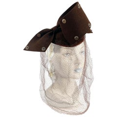 1930s Chocolate Brown Sculptured Hat with Full Veil