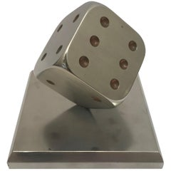 1930s Chrome Dice Paper Weight