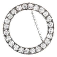 1930s Circle Pin with Diamonds