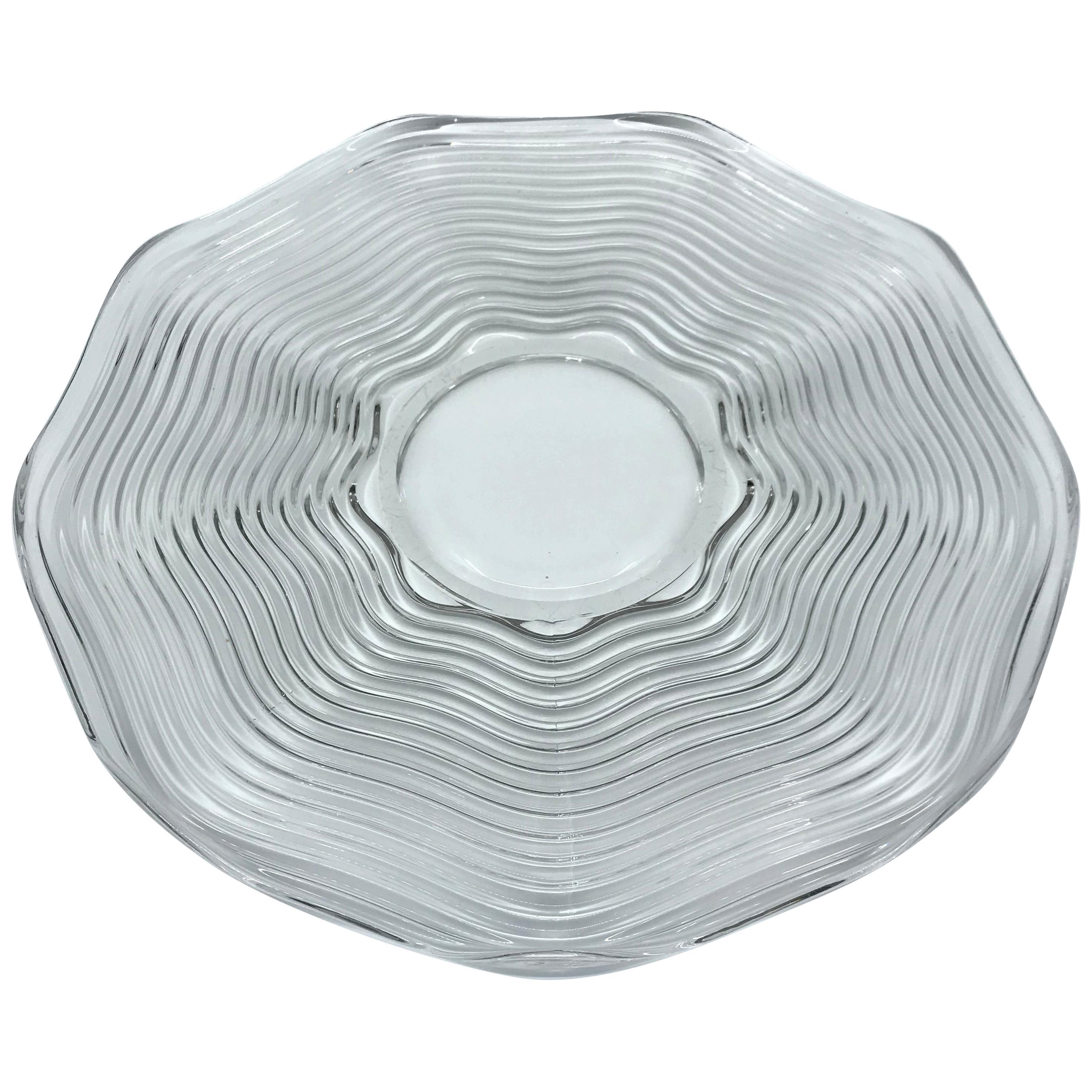 1930s Clear Glass Deco Serving Platter
