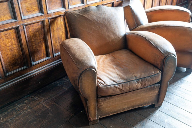 1930's Cognac French Leather Moustache Back Club Chair Sofa Set For Sale 5