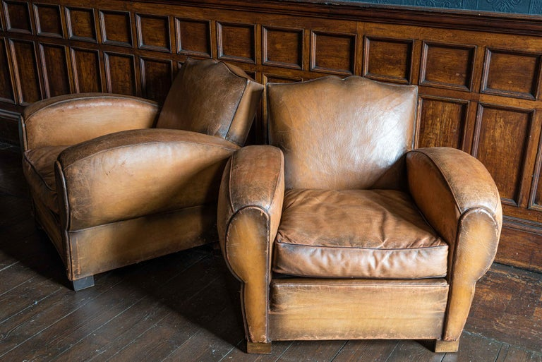 1930's Cognac French Leather Moustache Back Club Chair Sofa Set For Sale 6