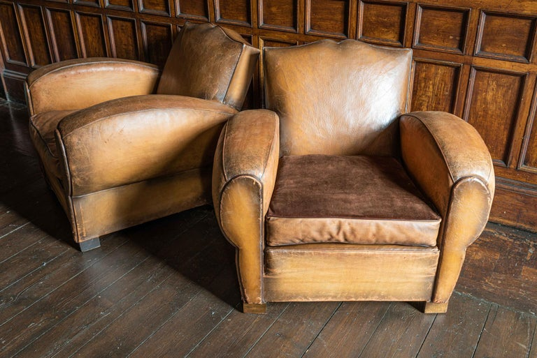 Art Deco 1930's Cognac French Leather Moustache Back Club Chair Sofa Set For Sale