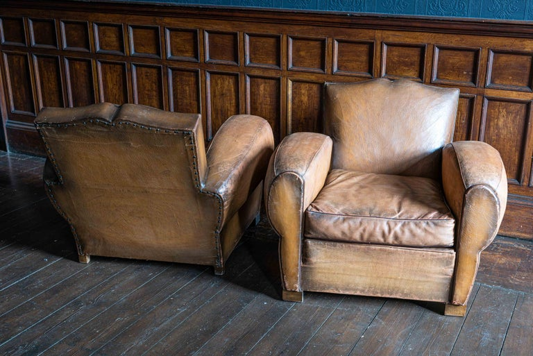 1930's Cognac French Leather Moustache Back Club Chair Sofa Set In Good Condition For Sale In Harrogate, GB