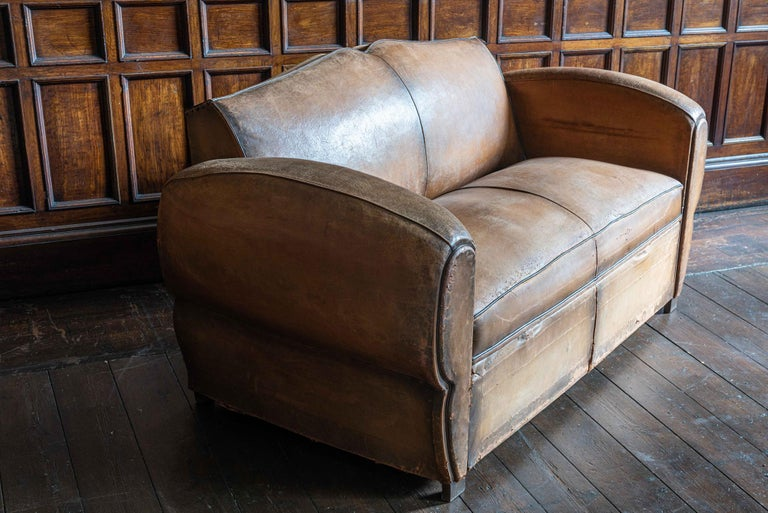 Mid-20th Century 1930's Cognac French Leather Moustache Back Club Chair Sofa Set For Sale