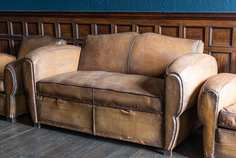 1930's Cognac French Leather Moustache Back Club Chair Sofa Set For Sale 1
