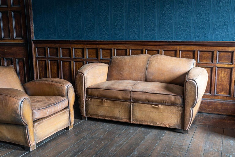 1930's Cognac French Leather Moustache Back Club Chair Sofa Set For Sale 2