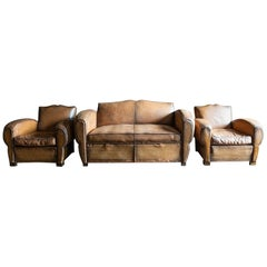 1930's Cognac French Leather Moustache Back Club Chair Sofa Set