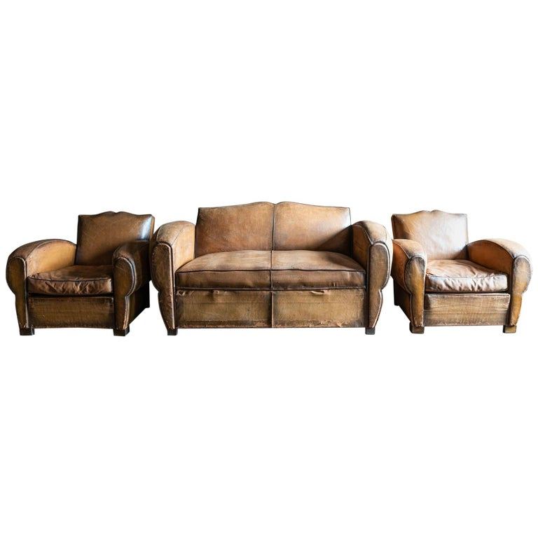 1930's Cognac French Leather Moustache Back Club Chair Sofa Set For Sale