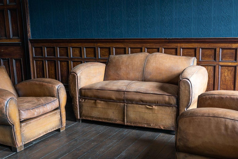 1930s cognac French leather moustache back club chair sofa set,