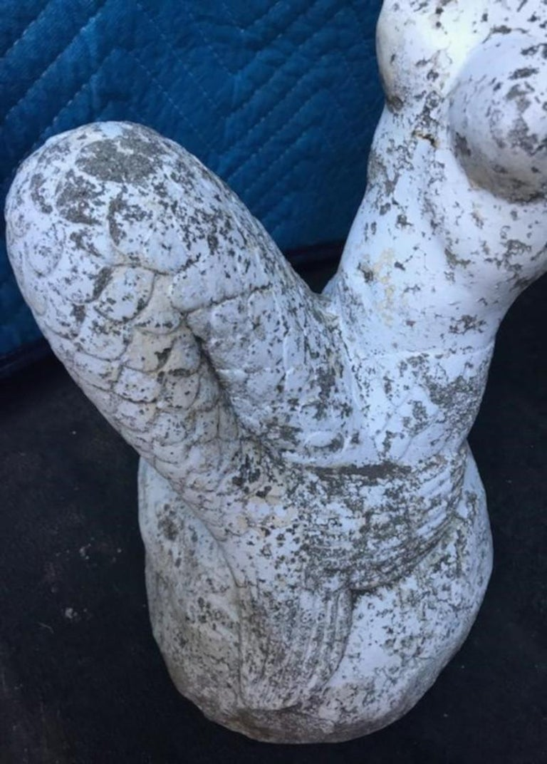 Hand-Painted Concrete Painted Mermaid from Old Beach House For Sale