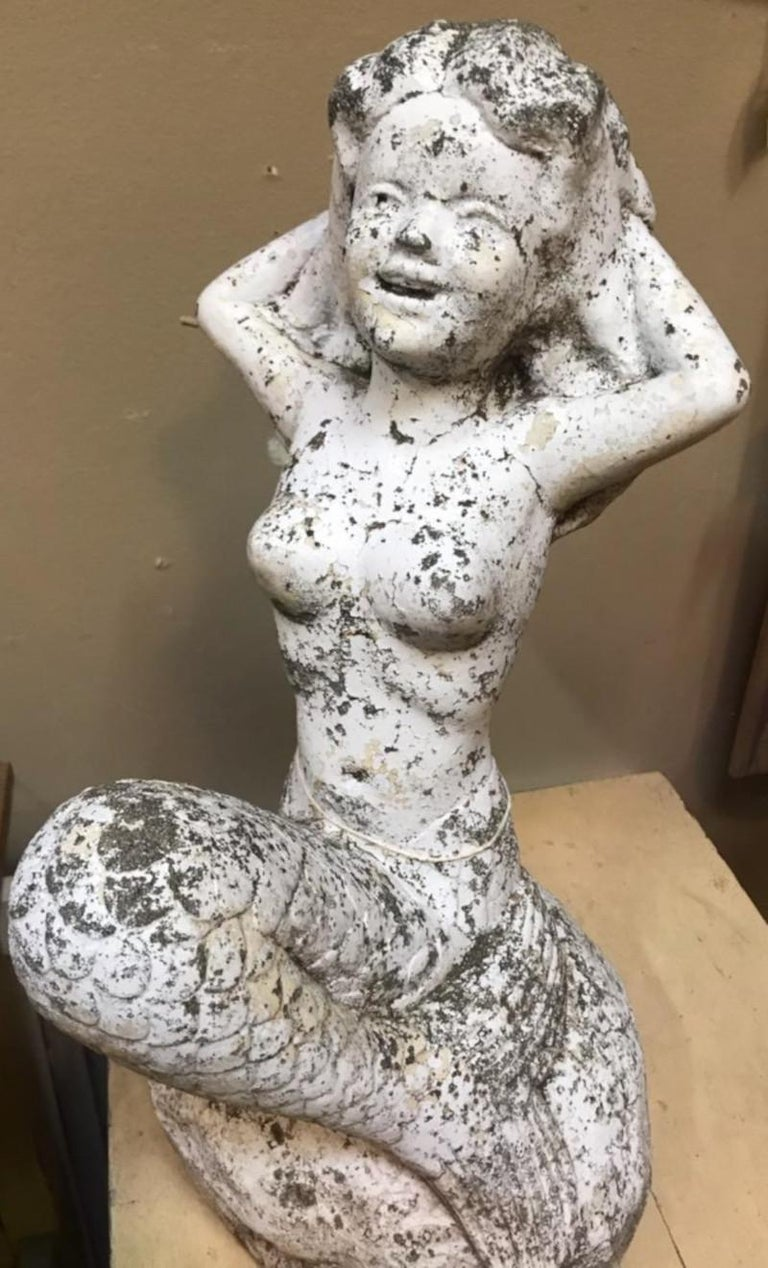 Concrete Painted Mermaid from Old Beach House In Good Condition For Sale In Los Angeles, CA