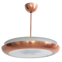 1930s Copper Pendant Lamp with Glass Diffuser Bauhaus