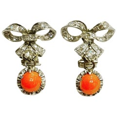 1930s Coral Cabochon Diamonds Clip-On Drop Platinum Earrings