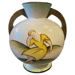 1930s Corrado Francia Art Deco Italian Ceramic Vase in the Manner of Giò Ponti