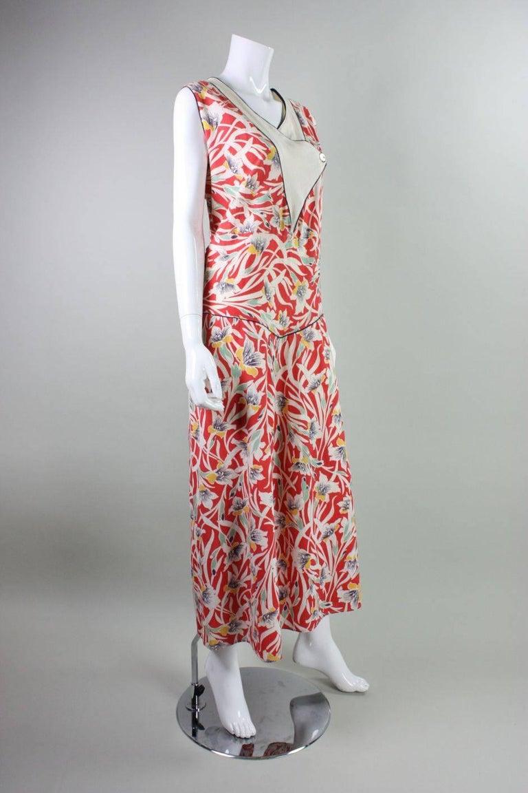 Beige 1930's Cotton Beach Pajamas with Art Deco Floral Print For Sale