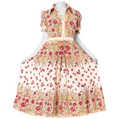 1940S White Cotton Seersucker Bohemian Russian Style Floral Rose Print Short Sl
