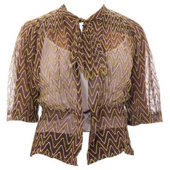 1930S Brown Cotton Net Sheer Bow Neck Blouse Embroidered Chevron Pattern In Gre