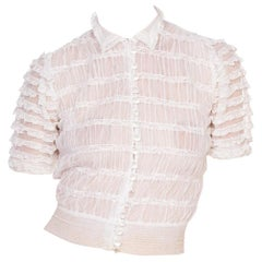 1930's Cotton Tulle & Antique Lace Blouse With Hand Cut Crystal Buttons