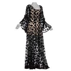 1930's Cotton Tulle Sheer Net Boho Dress Covered In Silk Velvet Polka Dots