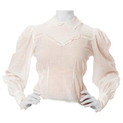 1930S White Cotton Voile Victorian Style Lace Insertion Pin-Tuck Blouse