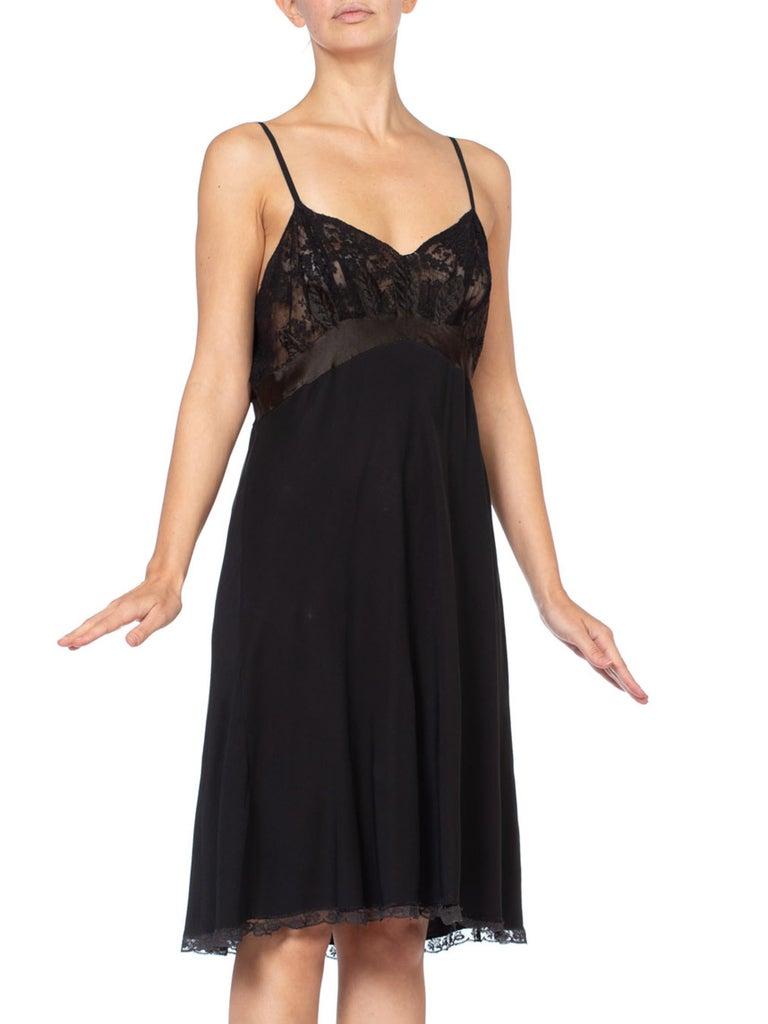 Black 1930's Couture Bias Silk & Lace Large Slip Dress For Sale