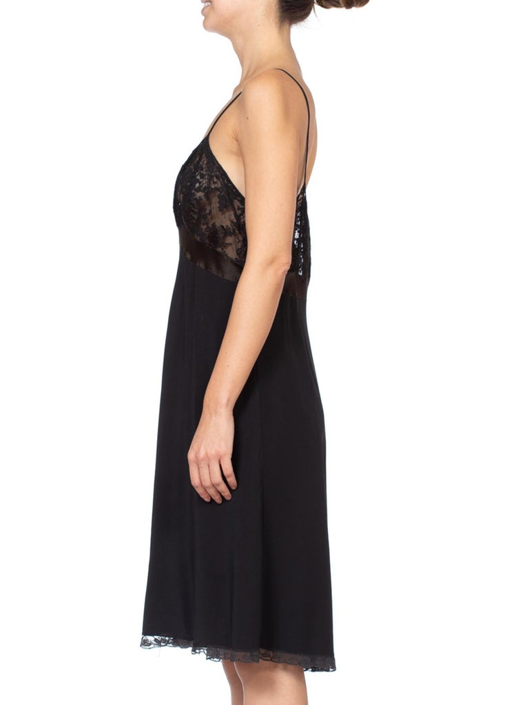 Women's 1930's Couture Bias Silk & Lace Large Slip Dress For Sale