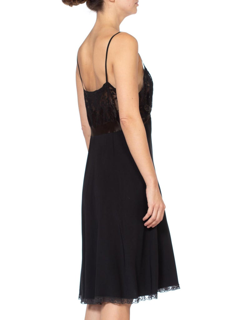 1930's Couture Bias Silk & Lace Large Slip Dress For Sale 1
