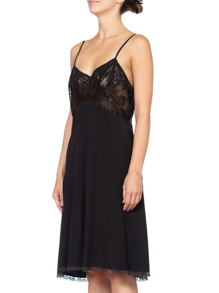 1930's Couture Bias Silk & Lace Large Slip Dress For Sale 2