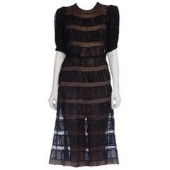 1930s Couture Hand Shirred Sheer Silk Chiffon Dress