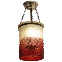 1930s Cranberry Glass Drum Pendant Light with Original Hardware