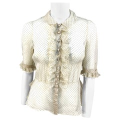 1930s Cream and Polka Dot Sheer Ruffle Blouse