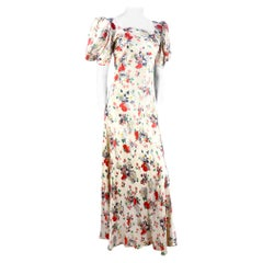 1930s Cream & Floral Printed Silk Satin Gown