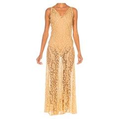 1930S Cream Rayon & Cotton Lace Slip Dress