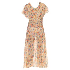 1930S Cream Red & Blue Silk Floral Bias Cut Day Dress With Capelet