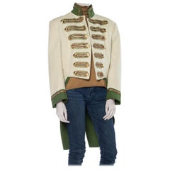 1930S Cream Wool Men's Hollywood Costume Military Jacket With Gold Buttons & An